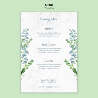 Modello di menu concetto di matrimonio