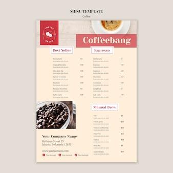 Modello di menu creativo caffetteria