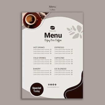 Modello di menu del caffè con speciale