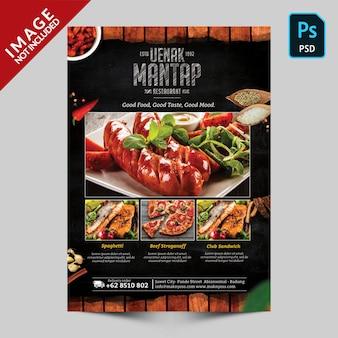 Modello di menu del libro front side