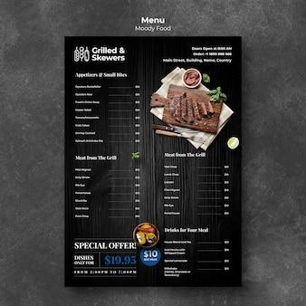 Modello di menu del ristorante alla griglia e spiedini