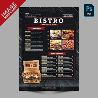Modello di menu del ristorante bistrot