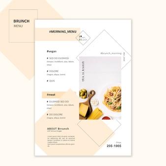 Modello di menu del ristorante brunch