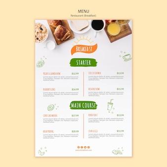 Modello di menu del ristorante colazione e caffè