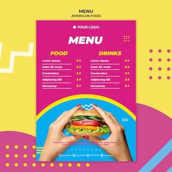Modello di menu del ristorante di cibo americano