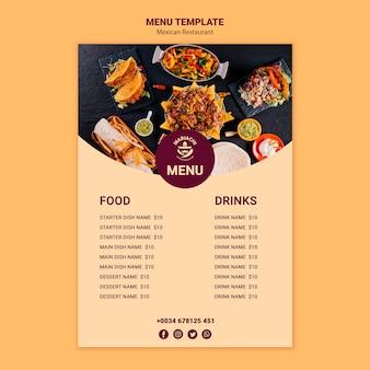 Modello di menu del ristorante di piatti tradizionali messicani