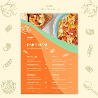 Modello di menu del ristorante italiano