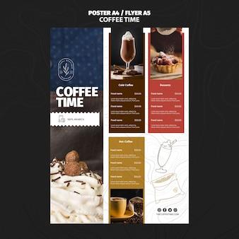 Modello di menu del ristorante tempo caffè