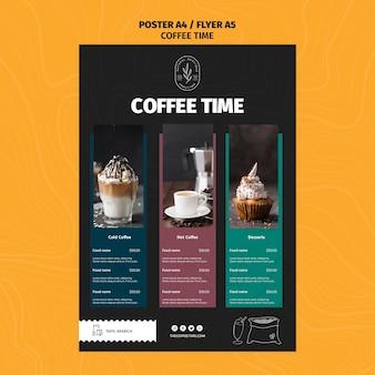 Modello di menu deliziosi caffè e lattes