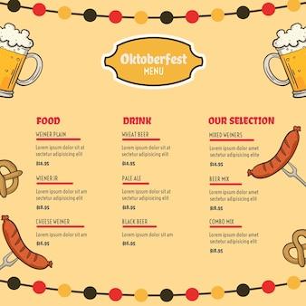 Modello di menu dell'oktoberfest