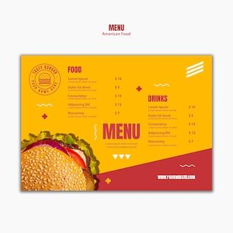 Modello di menu di cibo americano hamburger