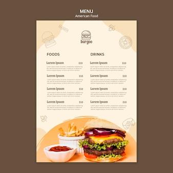 Modello di menu di cibo americano