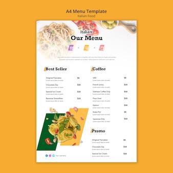 Modello di menu di cibo italiano