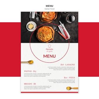 Modello di menu di cucina italiana