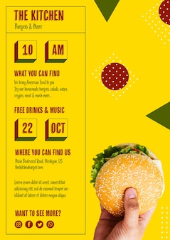 Modello di menu di hamburger di cucina