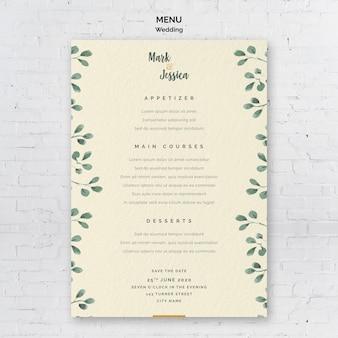 Modello di menu di nozze decorativo