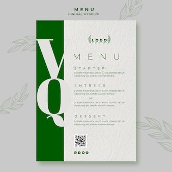 Modello di menu di nozze minimo