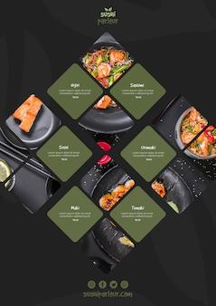 Modello di menu di sushi per ristorante giapponese