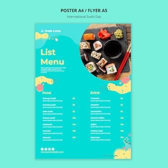 Modello di menu giornata internazionale dei sushi