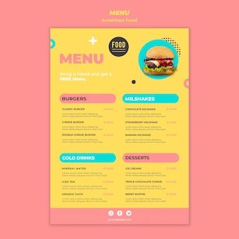 Modello di menu per cibo americano con hamburger
