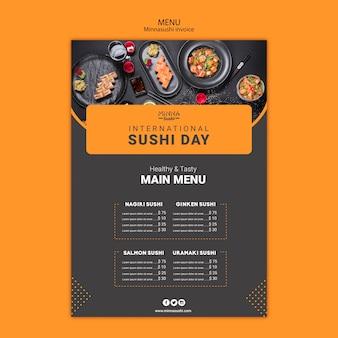 Modello di menu per la giornata internazionale del sushi