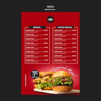 Modello di menu per ristorante di hamburger