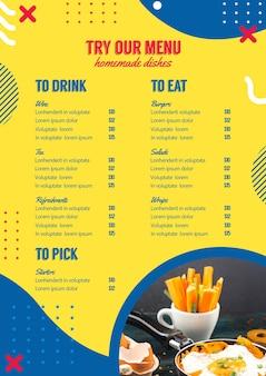 Modello di menu per ristorante in stile memphis