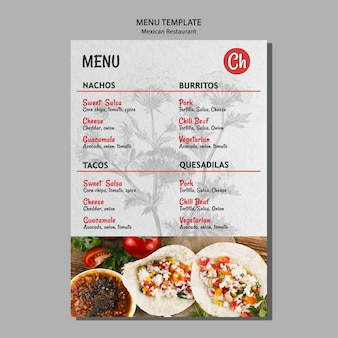 Modello di menu per ristorante messicano