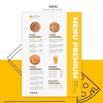 Modello di menu per ristorante pizzeria