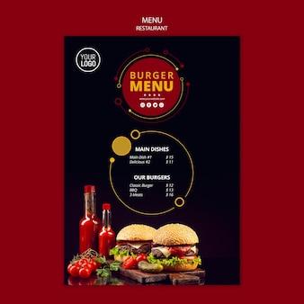 Modello di menu per ristorante