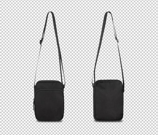 Modello di mockup borsa tascabile nero per il vostro disegno.