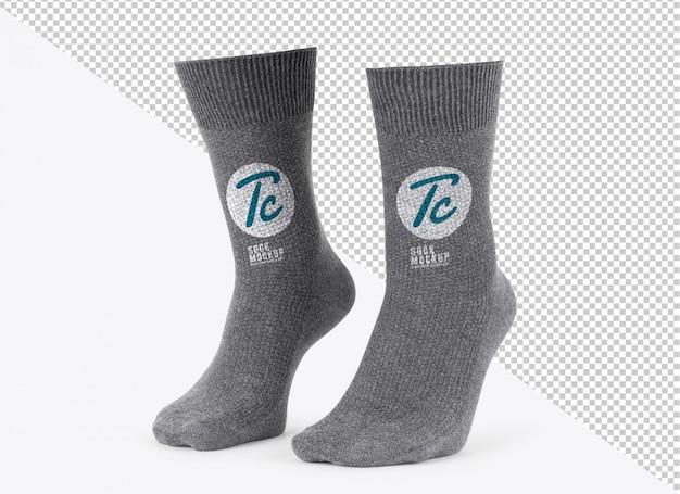 Modello di mockup calzini grigi vuoto per il vostro disegno