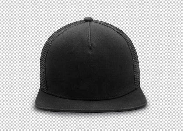 Modello di mockup con cappuccio snapback nero su trasparente.