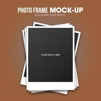 Modello di mockup cornice per foto polaroid