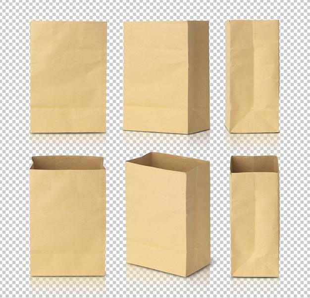 Modello di mockup di sacchetti di carta marrone riciclato per il vostro disegno.