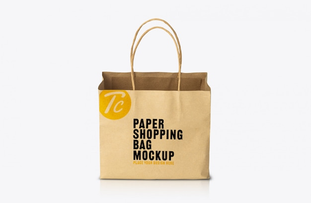 Modello di mockup di sacchetto di carta marrone kraft riciclato