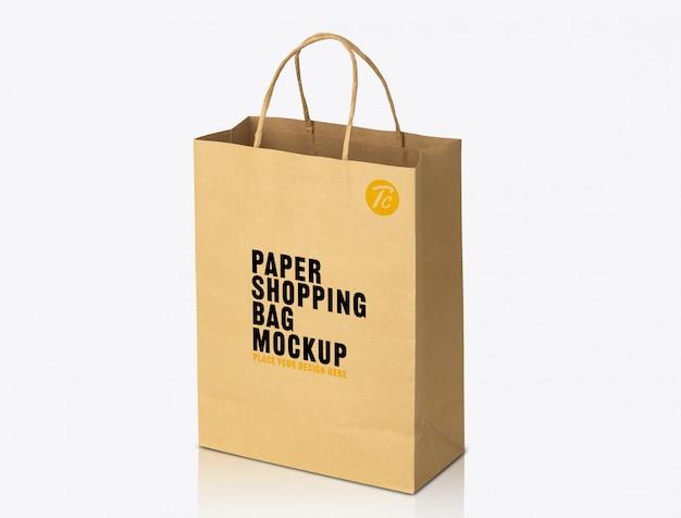 Modello di mockup di sacchetto di carta marrone riciclato kraft per il vostro disegno