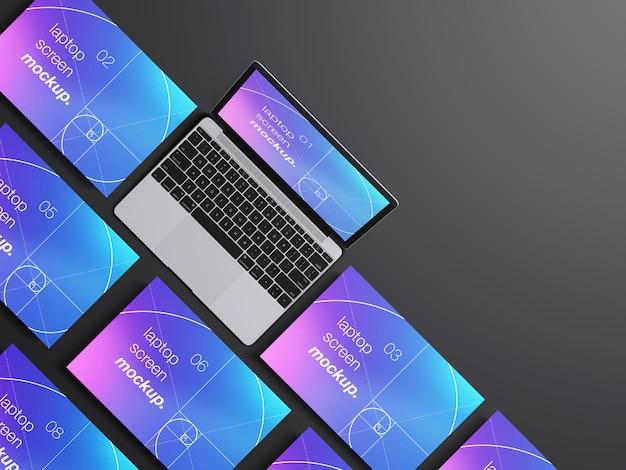 Modello di mockup di schermi di laptop macbook realistico vista dall'alto