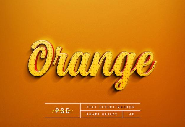 Modello di mockup effetto testo arancione personalizzabile