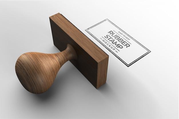 Modello di mockup logo timbro in legno