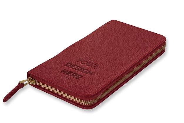 Modello di mockup portafoglio rosso