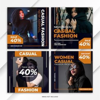 Modello di moda bundle post feed di instagram