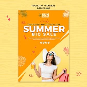 Modello di modello di manifesto di vendita estate ragazza