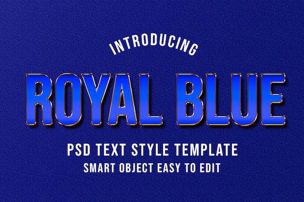 Modello di modello di testo psd blu reale mockup - elegante effetto di lusso in stile photoshop
