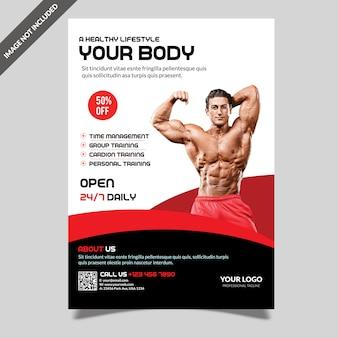 Modello di moderna palestra fitness flyer