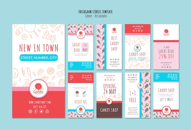 Modello di negozio di caramelle per storie di instagram