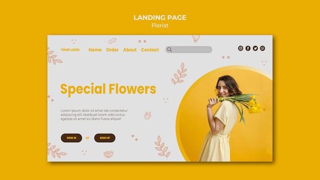 Modello di negozio di fiorista di pagina di destinazione