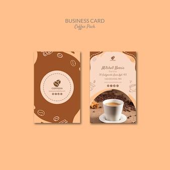 Modello di pacchetto caffè biglietto da visita
