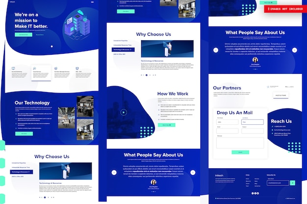 Modello di pagina del sito web aziendale