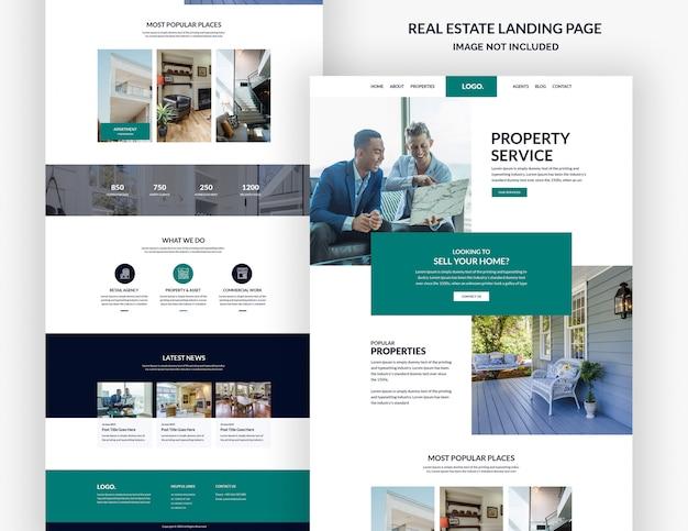 Modello di pagina del sito web immobiliare